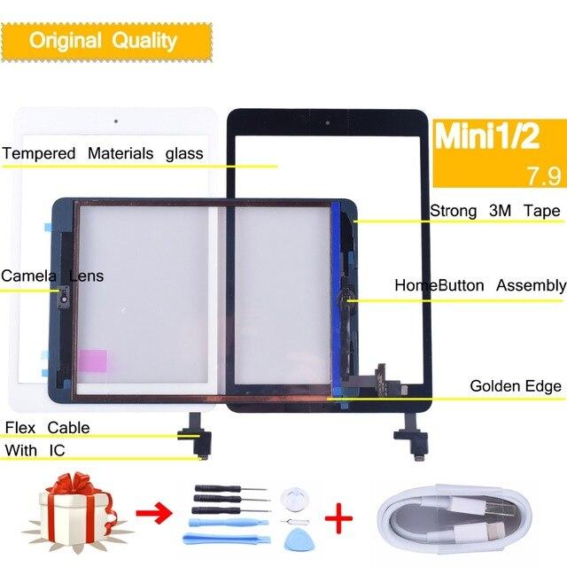 Gốc đối với apple iPad mini 1 mini 2 Màn Hình Cảm Ứng Digitizer với Nút Home IC Kính Phía Trước Bảng Điều Khiển Cảm Ứng A1432 a1454 A1455 A1489