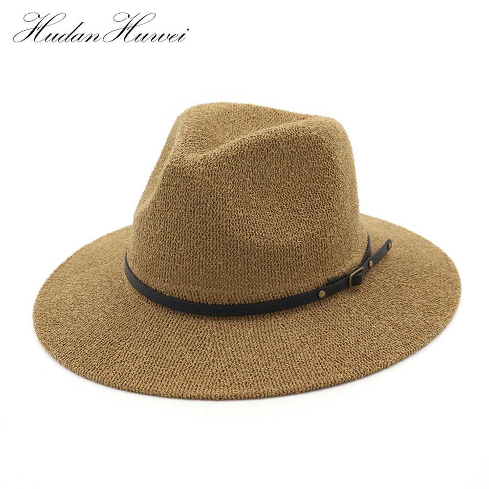 f287248908b 2018 Summer Sun Hat Men Wide Brim Metal Belt Straw Hats Panama Hats Women  Solid Color