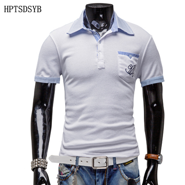Mens Polo Shirt Brands 2017 Male Short Sleeve Fashion Casual Slim Pocket Pattern Printing Polos Men  Jerseys   X2