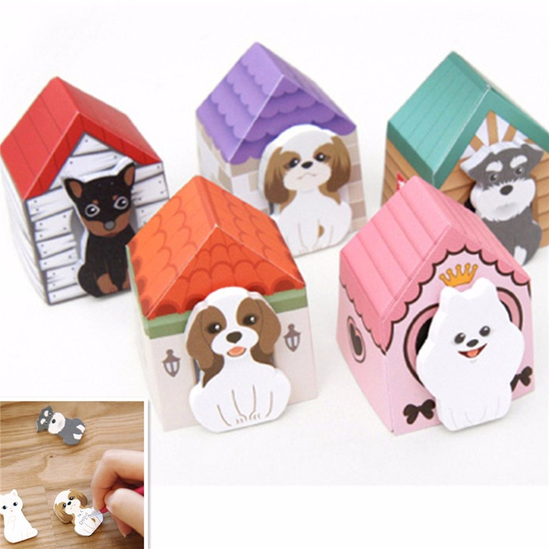 3D Funny Cute Puppy House Schedule Sticker Paste Bookmark Mark Memo N Times Sticky Notes School Office Supplies Planner Stickers
