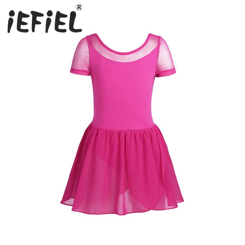 iEFiEL Kids Girls Child Mesh Short Sleeve Ballet Dance Gymnastics Leotard Tutu Dress Stage Performance Dancewear Dancer Clothes