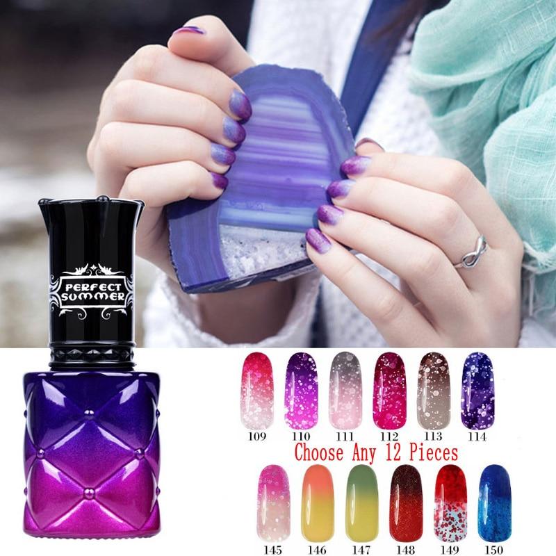 Promotion Color Change Gel Nail Polish 205 Color 8ml UV 12 Pcs Wholesale Gel Varnish Perfect Summer UV LED Soak Off Thermo