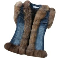 2019 winter new fashion women vest with genuine real raccoon fur collar Denim jeans Exclusive special coat jacket