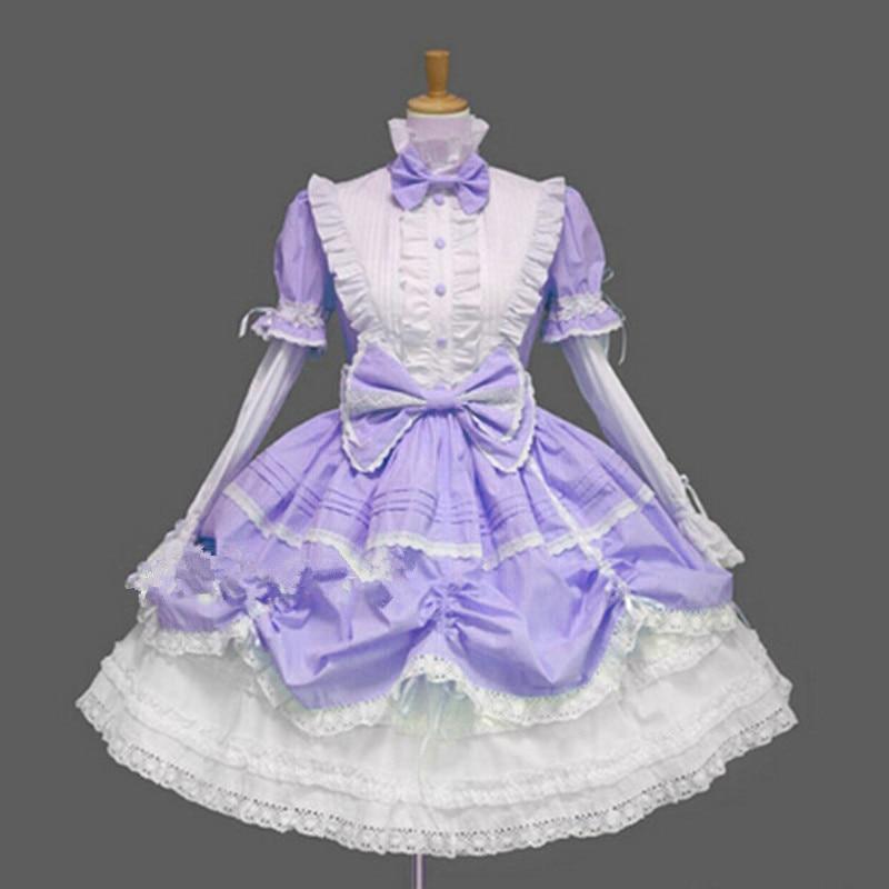Robe Lolita gothique victorienne robe de princesse Halloween Costume Lolita Cosplay robe en couches pour femme de chambre jeux Cosplay - 5
