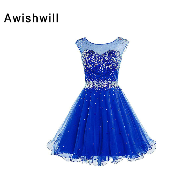 Cheap On Sale Kokteyl   Dress   Cap Sleeve Shiny Beadings Tulle With Open Back Royal Blue Homecoming   Dress   Short   Cocktail     Dresses