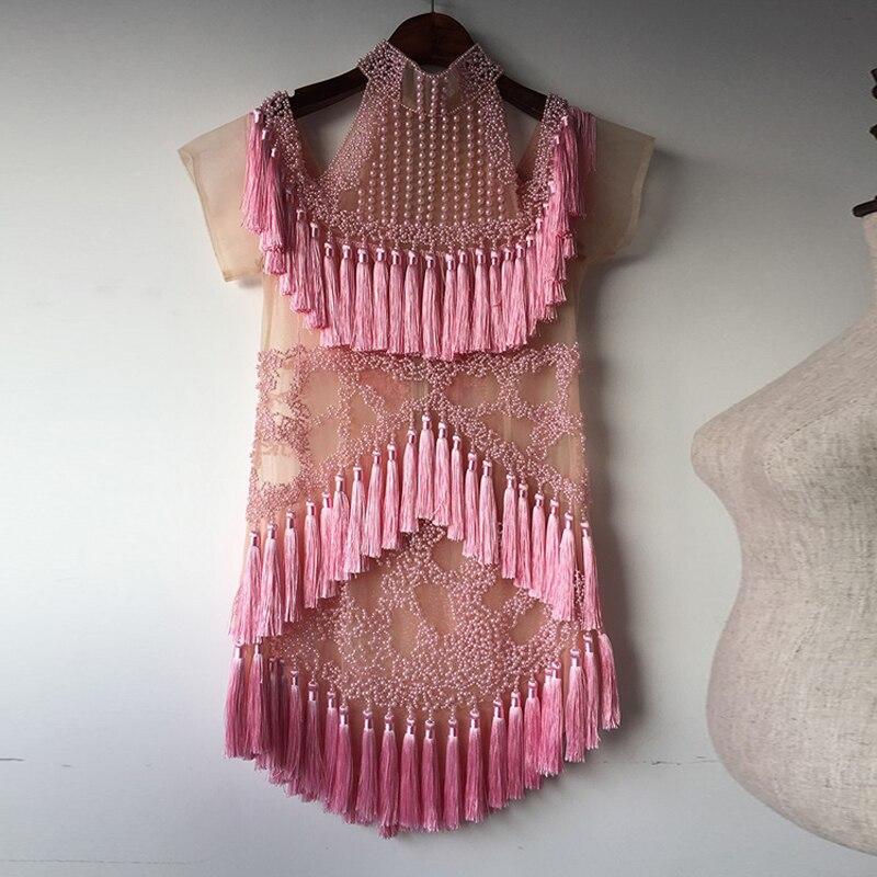 См. Оранжевое милое розовое роскошное сексуальное платье ручной работы с бисером 2017 новейшее Брендовое летнее платье мини платье с кисточк... - 3