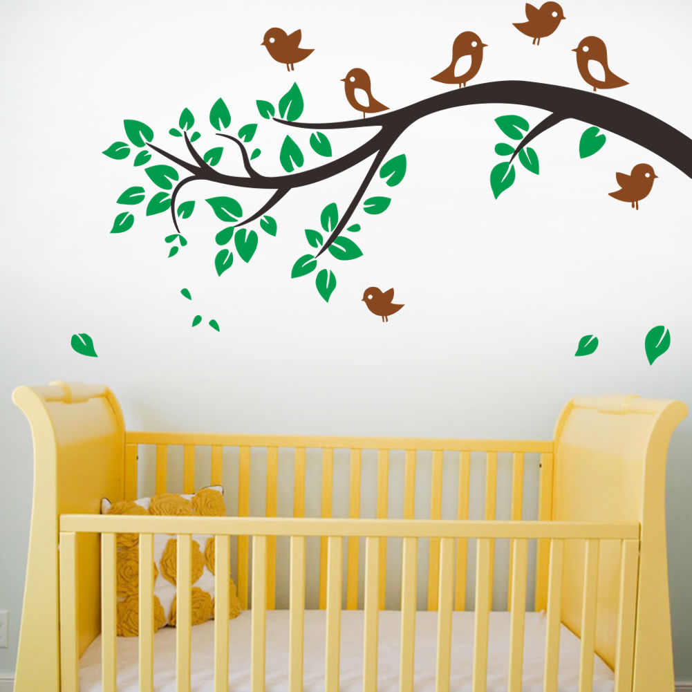 C200 Removable tree branches birds Vinyl Wall Decal nursery room ...