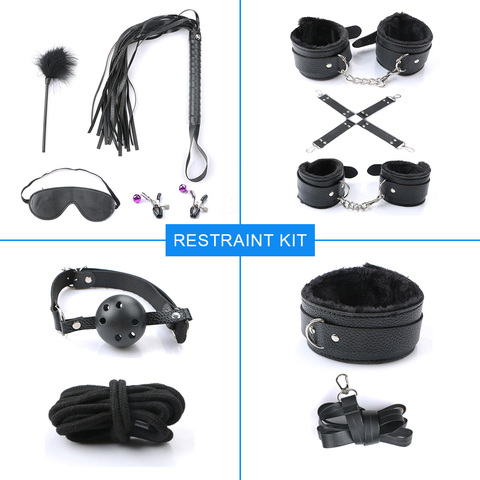 10pcs/Set Sex Bondage Restraint Leather Handcuffs Collar Whip Sexy Adult Couple Toy Novelty Special Use Exotic Accessories Multan