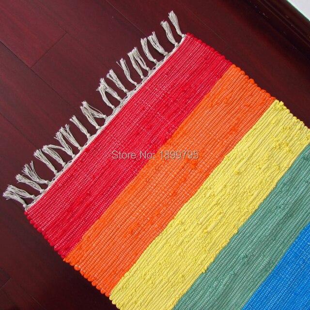 3 Piece Whole Blanket Cotton Handmade Weave Rainbow Rug Color Carpet Kitchen Little Doormat Floor Mats