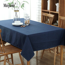 Meijuner Modern Cotton Linen Table Cloth Waterproof Rectangular Party Banquet Outdoor Tablecloth Solid Color Table Cover Overlay