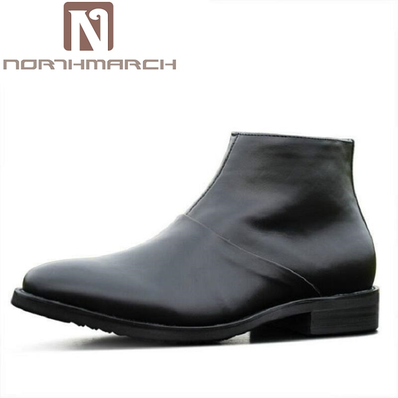 цена на NORTHMARCH High Quality Cow Split Leather Ankle Boots Male Winter Leisure Fashion Men Boots Party Retro Motorcycle Mens Shoes
