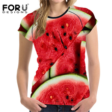 FORUDESIGNS 2018 Summer T Shirt Women T-Shirt 3D Fruit Printing t-shirt Womens Watermelon Cool T-shirt Femme Funny Tshirt Vogue