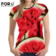 FORUDESIGNS 2018 Summer T Shirt Women T-Shirt 3D Fruit Printing t-shirt Womens Watermelon Cool T-shirt Femme Funny Tshirt Vogue