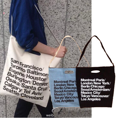 cc2caa64b07 free shipping AA vintage American Apparel blue woven cotton city bag with  strap canvas letter Shopping Bag