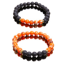 SUKI Punk Bracelet Yoga Healing Balance Lava Reiki Stones Beads Women Men Jewelry bracelet pierre naturelle
