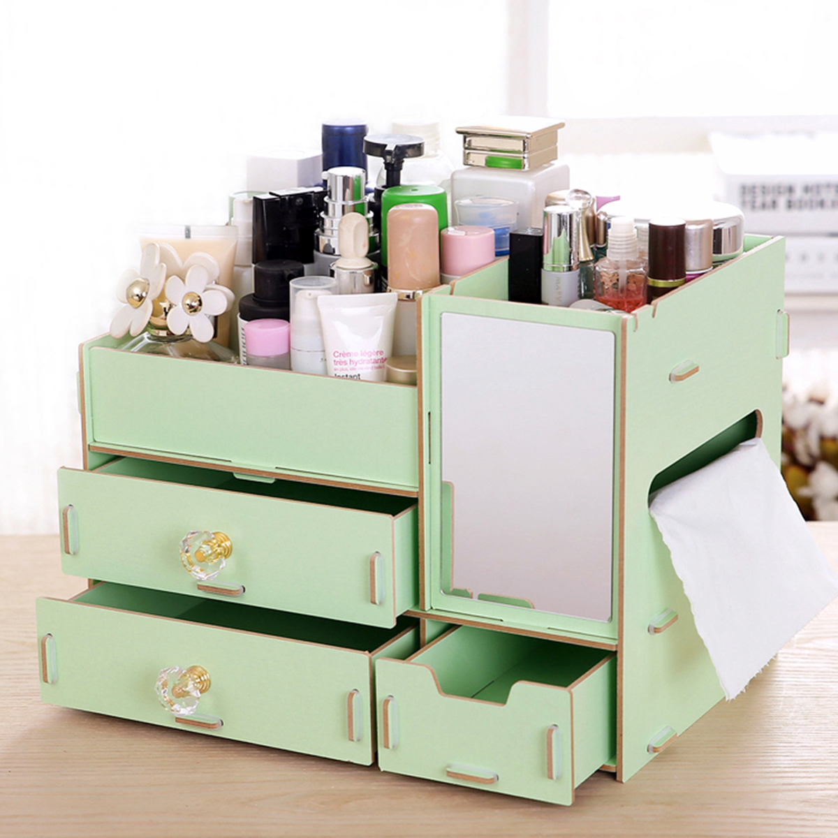 Us 24 47 34 Off Desktop Cosmetic Storage Box Diy Fixed Wooden Makeup Organizer With 3 Drawers Mirror Jewelry Cabinet Container Dressing Case In Eye