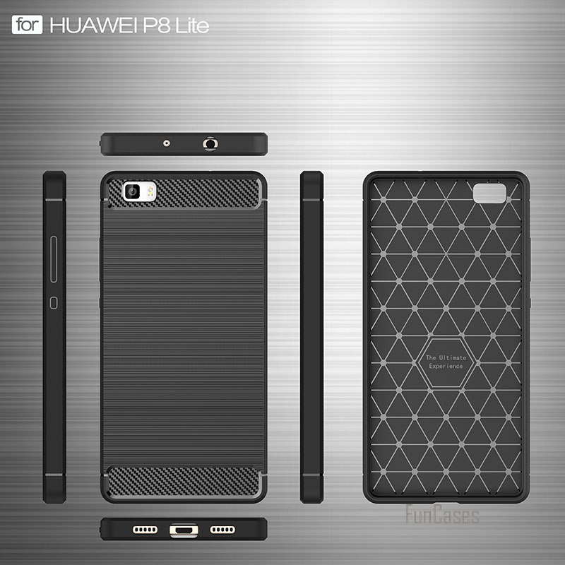 For Huawei P8 Lite Case 360 Protection Carbon Fiber Brushed Texture Soft Silicone Cases Back Cover for Ascend P8Lite Anti-Knock