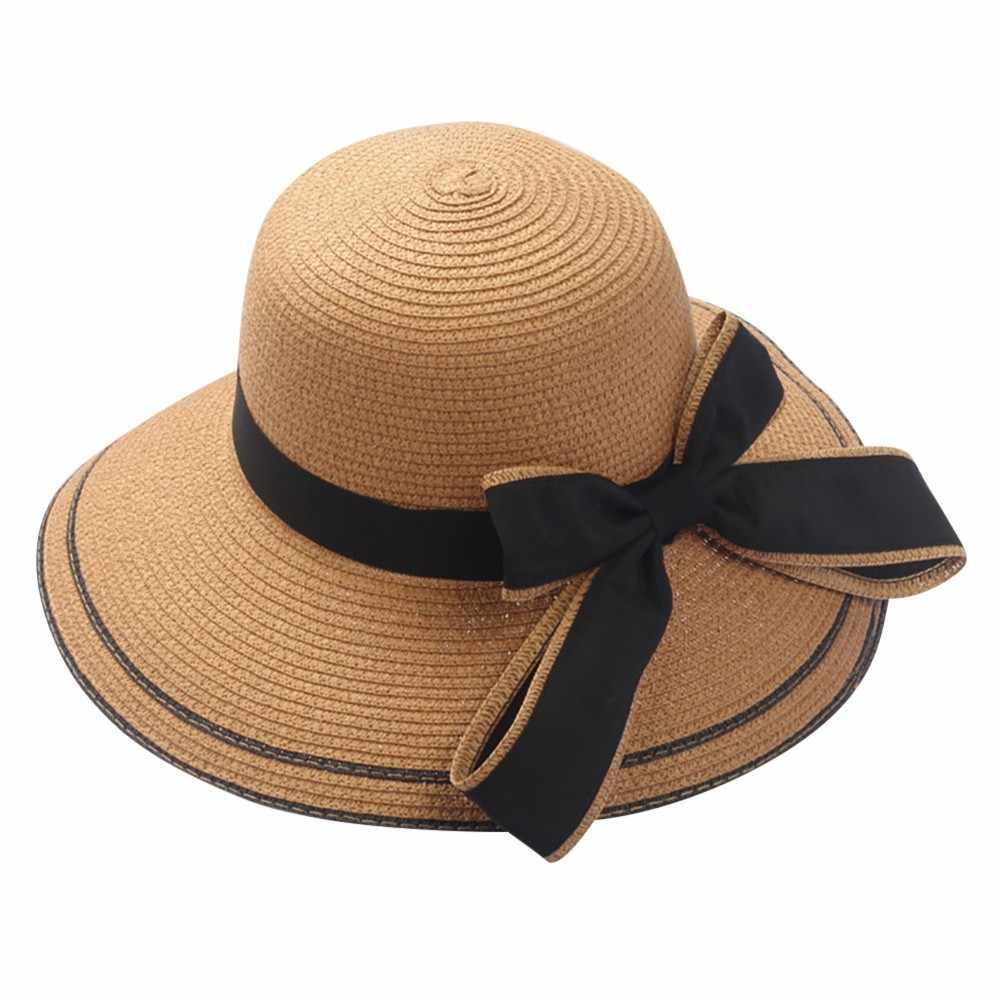 a58491a78069 ... Sleeper #501 2019 NEW FASHION Floppy Foldable Lady Women Bow Straw  Beach Sun Summer Hat ...