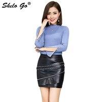 Leather Skirt Womens Spring Fashion sheepskin genuine leather Skirt high waist front adjustable sexy ruffles skirts