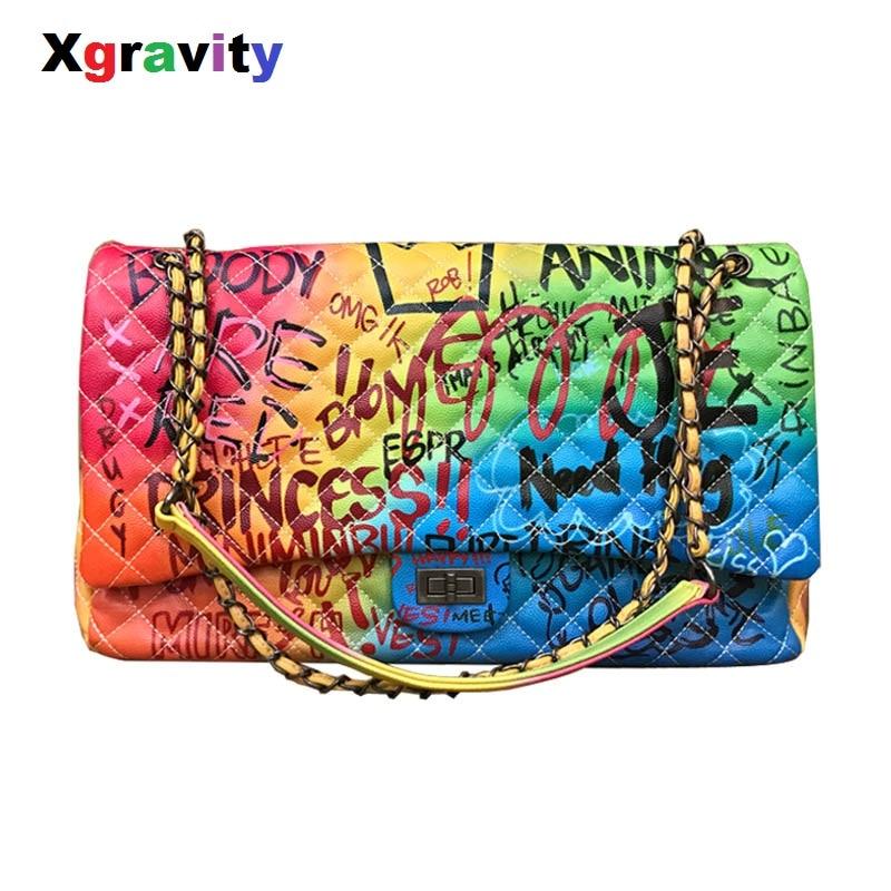 Xgravity nouvelle couleur Graffiti imprimé femmes sac épaule gros sacs mode grand voyage sacs femmes marque chaîne femme sacs à main H175