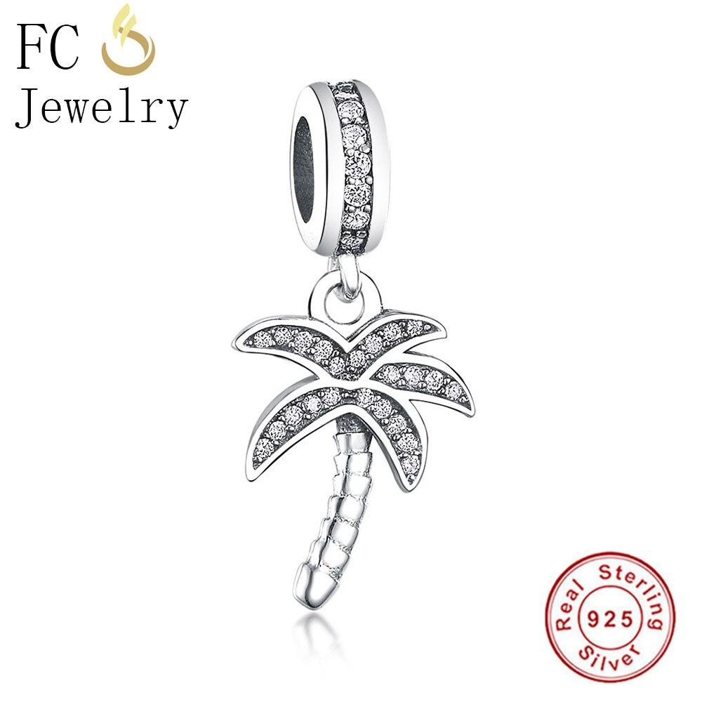 FC Jewelry Fit Original Pandora Charms Bracelet 925 Silver Palm Tree Mix CZ Stone Crystal Beads Pendant DIY Making Berloque Gift