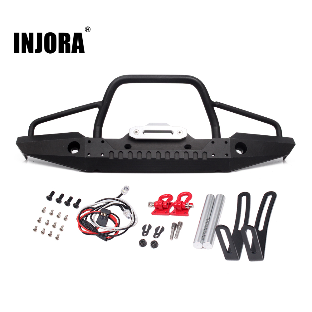 INJORA 1:10 RC Rock Crawler Metal Front Bumper with Led Light for Axial SCX10 90046 90047 Traxxas TRX-4 injora 4pcs red metal bumper d ring tow