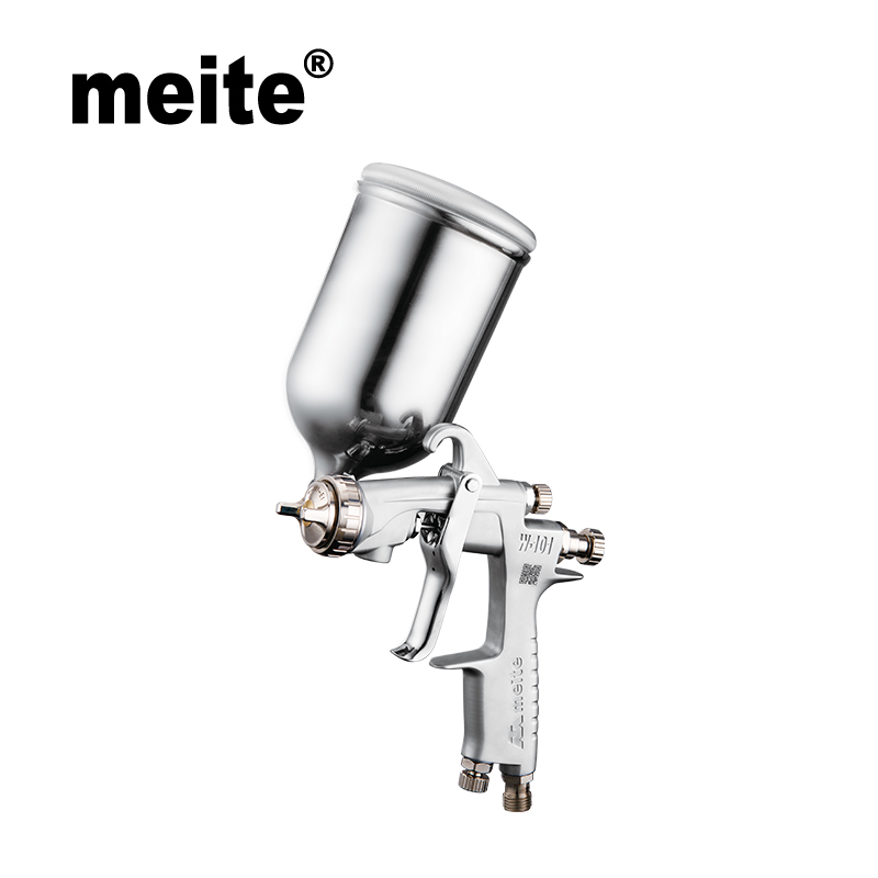 Meite MT-W101-G HVLP paint spray gun gravity type mid spray gun hvlp in 1.0/1.3/1.5/1.8mm nozzle with 400CC cup Sep.3rd update jiacai w 71 gravity spray gun manual paint gun 1 0 1 3 1 5 1 8mm car furniture auto painting coating spray gun with 400cc cup