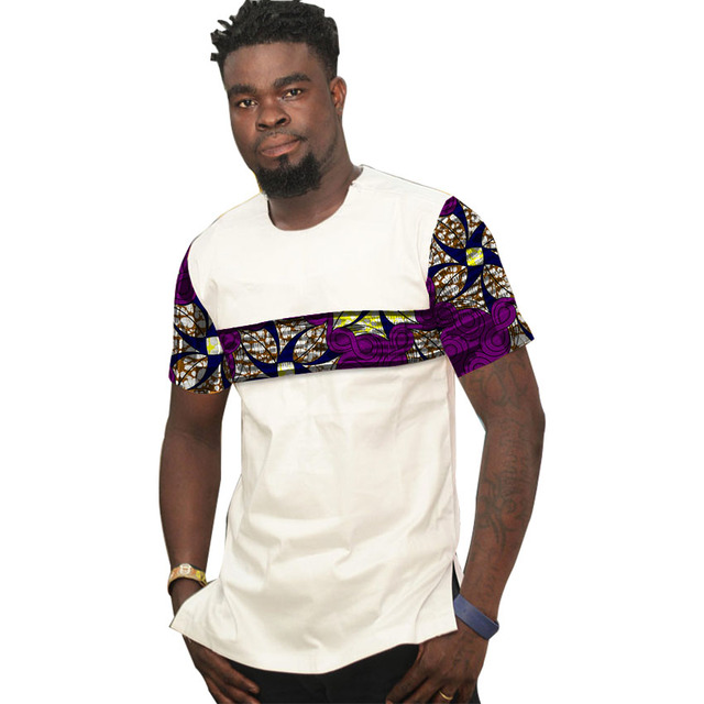 96455afc7e1e African tops for men o-neck short sleeve shirt patchwork dashiki t-shirts  Ankara print Africa style men's clothing