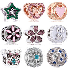 Hot Sale Crystal Flower House Maple Leaf Angle Star Wing Train Butterfly Beads Fit Original Pandora Charms for Women DIY Jewelry(China)