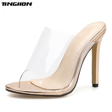 TINGHON Fashion champagne Women PVC Sandals High Heeled Mules Sexy Thin Heel Shoes Open Toe Slippers Pumps