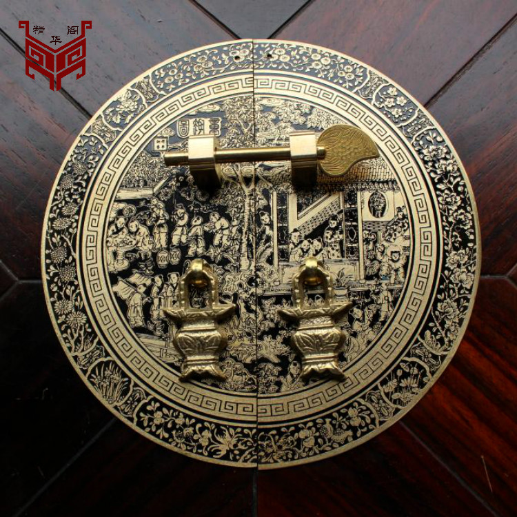 Chinese antique furniture of Ming and Qing Dynasties cabinet handle copper fittings copper round bookcase wardrobe door handle o