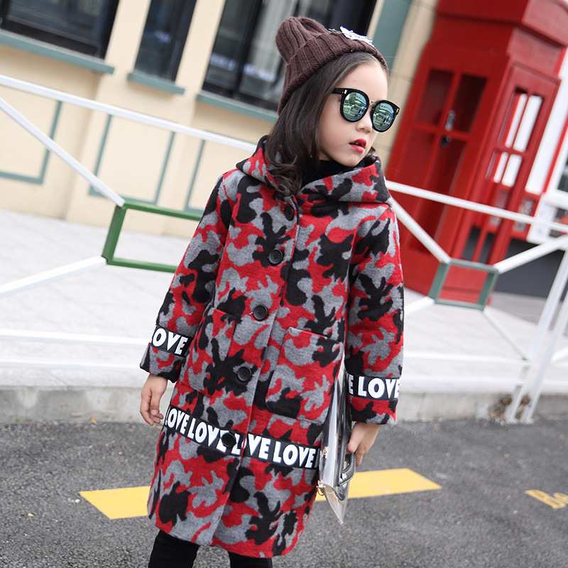 Warm Kids Hairy Red Camo Jacket Thick Children's Autumn Long Coat Fashion Winter Wool & Blends Outfits Windbreaker For Girls hairy maclary shoo