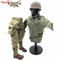 1/6 scale DML WWII US Army 101 Paratrooper Uniform Coat Pants Metal Helmet Cover Rangers Boots Set Air Force for 12'' figurine