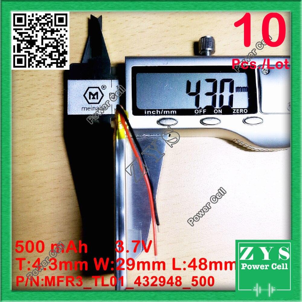 10 pièces./Lot 422948 3.7 V 500 mah Lithium polymère batterie avec panneau de Protection pour PDA tablette PCs produits numériques 500 mAh