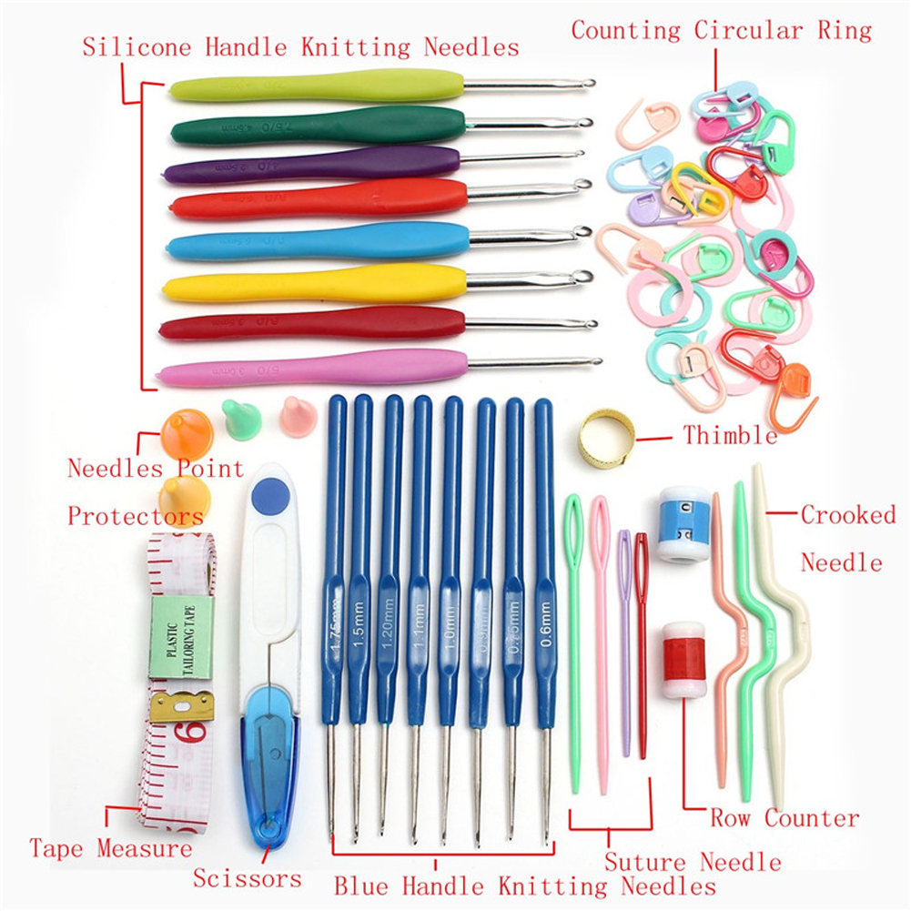 High quality 9PCS Plastic Crocheting Acrylic Crochet Hooks Needles ...