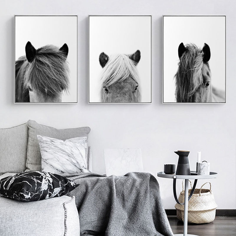 Rustic Painting Horse-Posters Icelandic Farmhouse Canvas Wall-Art Modern-Pictures Prints