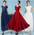Free Shipping High Quality Elegant Best-selling Short Sleeve Pure Color Collect Waist Lace Chiffon Long Dress