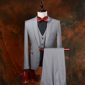 2019 New Brand Wedding Men Suits Light Grey Style Leisure Male Blazers Suit Slim Fit Prom Groom Tuxedos 3 Piece