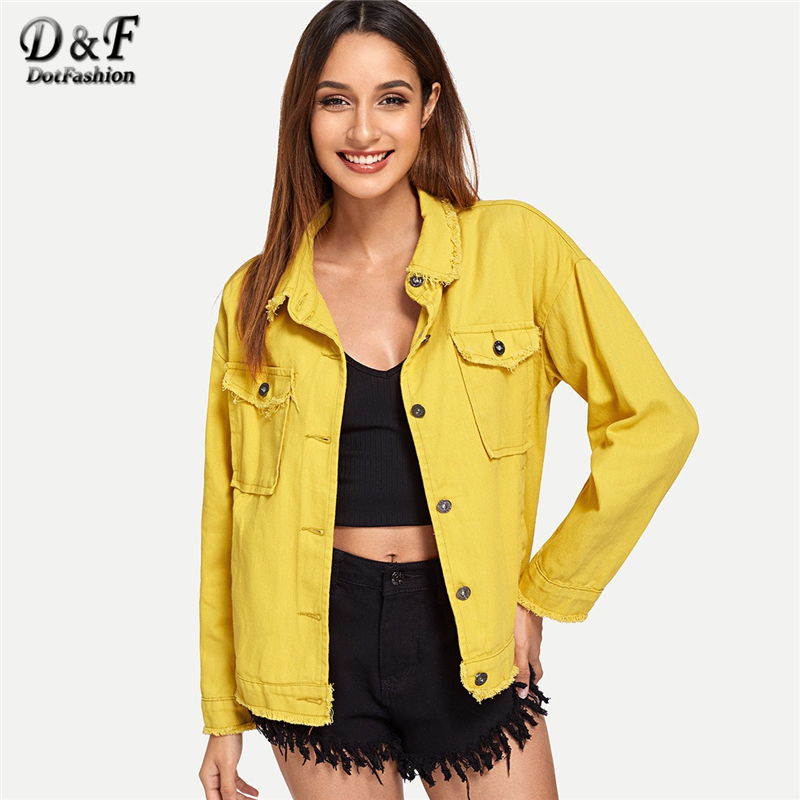 Dotfashion Yellow Single Breasted Denim Jacket Women 2019 Autumn Fashion Casual Womens Clothing   Coats   Spring Plain Outerwear