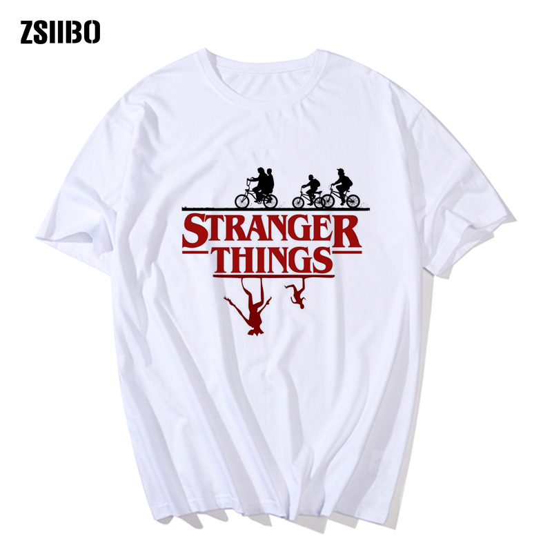 Stranger Things Tee Hipster   Shirts   Graphic   T  -  shirt   Men Letter Print   T     Shirt   Fashion Clothing Top HY1MC63