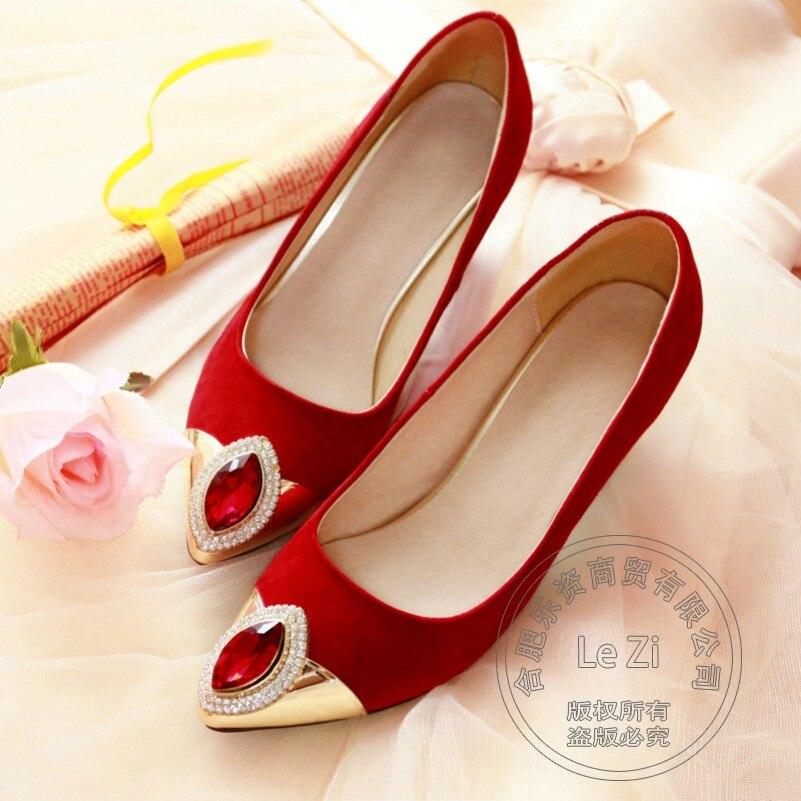 font b Women b font Rhinestone Wedding Dress Shoes Slip On Suede Crystal Pumps Ruby