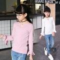 Adolescente Meninas Camisetas de Manga Longa Camisas de T Para Meninas de Algodão T-shirt 2017 primavera Crianças Encabeça 4 6 8 9 10 12 14 Anos Vetement Enfant