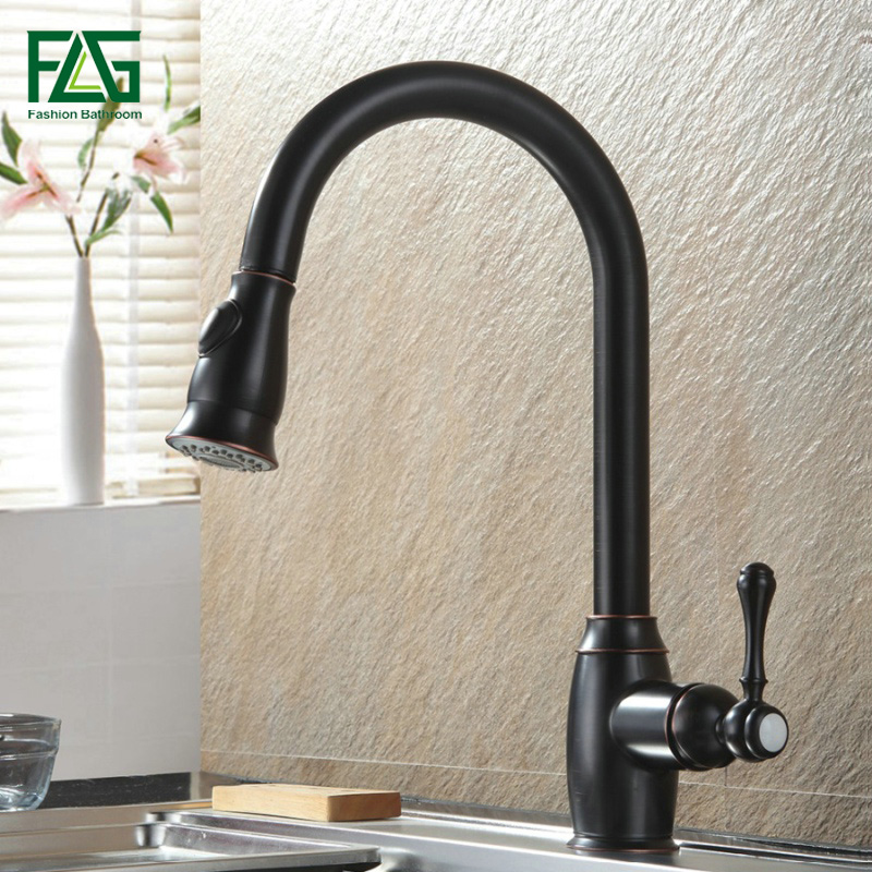 FLG Kitchen Tap Oil Rubbed Bronze Black and Chrome Kitchen Faucets Pull Out Kitchen Sink Cold Hot Water Mixer Tap  157-33ORB