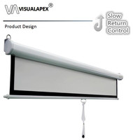 M3VMWB 4:3 Neptune SRM Slow Retract Mechanism Manual Pull down Projector Screen,84 100inch with Matte White B
