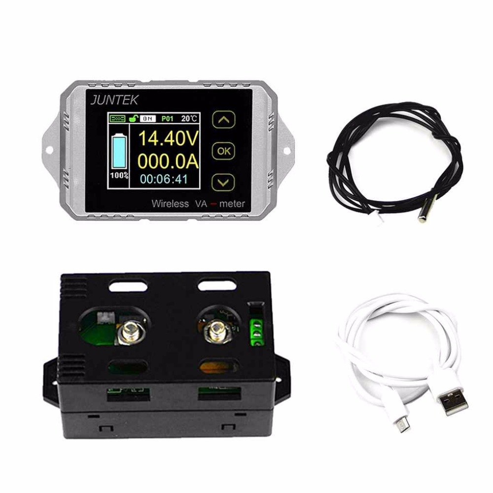 JUNTEK DC 120V 100A Wireless Battery Coulometer Capacity Voltage Current Power Meter KWH Tester Energy Meter