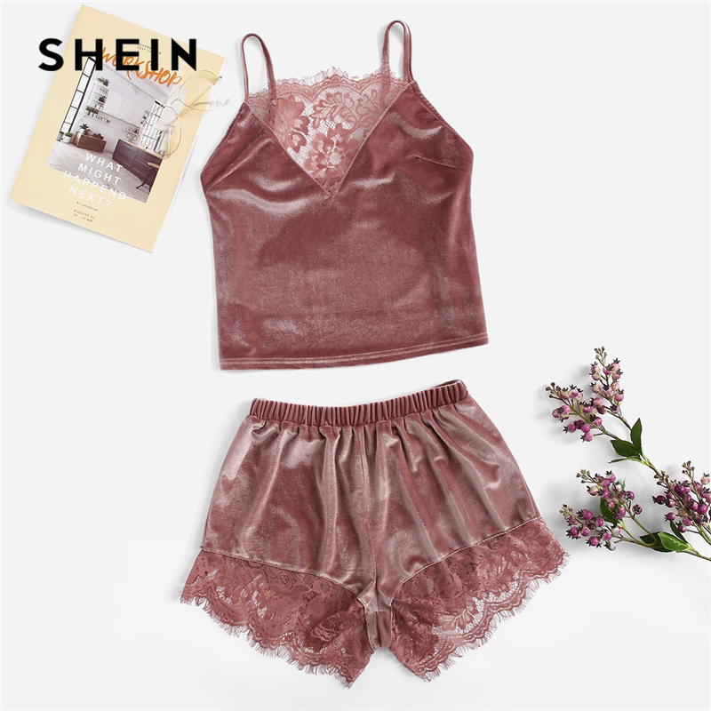 SHEIN Pink Lace Insert Velvet Sleeveless Cami Top and Shorts PJ   Set   Sleepwear Women Summer Casual Solid Nightwear   Pajama     Sets