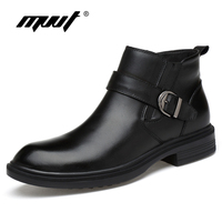 Autumn winter snow boots genuine leather Men boots fashion casual high top zip ankle boots shoes men career work boots man