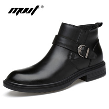 лучшая цена Autumn winter snow boots genuine leather Men boots fashion casual high top zip ankle boots shoes men career work boots man