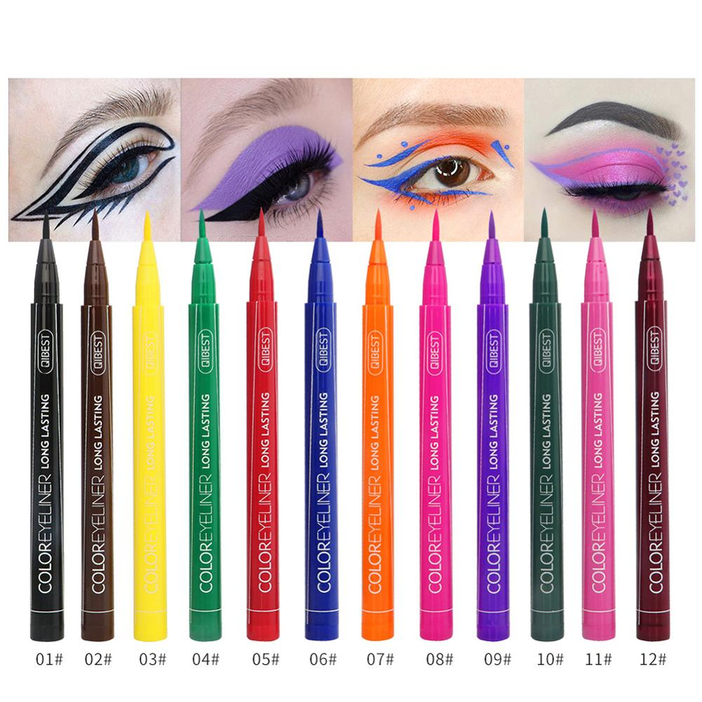 Wasserdichte Bunte Flüssigkeit Eyeliner Bleistifte Schnell Trocken Lange Anhaltende Dünne Kopf Eye Liner Pen Make-Up-Tools 12 teile/satz