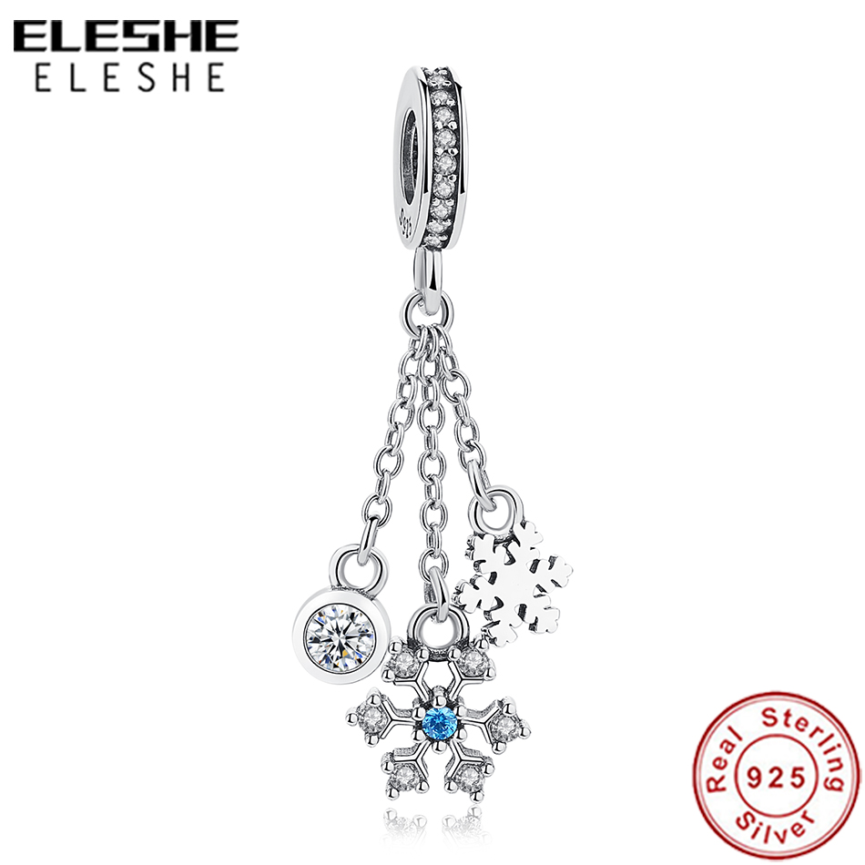 Elegant Snowflake New 925 Silver Charm Beads Gold Plated CZ Pendant For Women